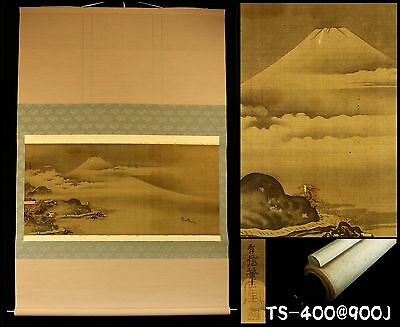 """Mt.FUJI Scenery"" Hanging Scroll by Mitani Yushin ""三谷有信"" Japan Antique Meiji Era"