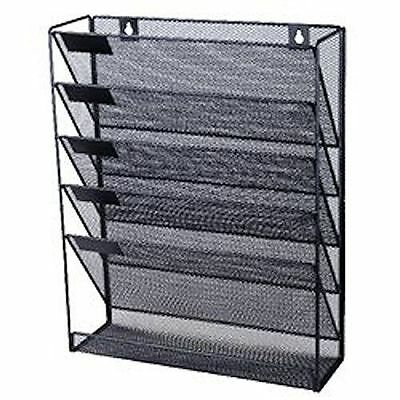 5 Holder Mesh Rack Storage Office Document A4 Files Organizer Paper (Wall Mount)