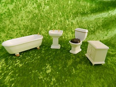 1:12 Scale Dolls HouseWhite Bathroom Set