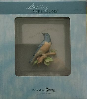 Lasting Expressions Porcelain And Glass  Bluebird Plaque W/display Stand Nip