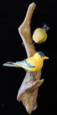 Vintage 1946-71 Hand Carved Basswood GOLD FINCHES by OLIVE GEORGE (OG3)