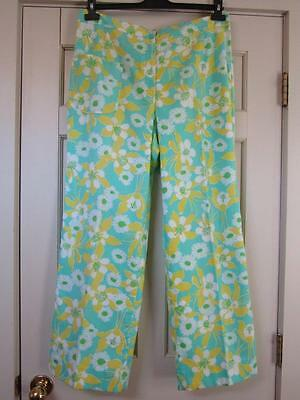 VTG 1960s/70s LILLY PULITZER Aqua/Yellow Floral Print Straight Leg Pants Large L