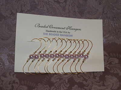 Christmas Holiday Ornament Hangers/hooks...12 Lilac Glass Pearl Beads (P8)