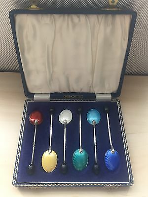 Sterling Silver Guilloche Enamel Coffee Bean Spoon Set Hallmarked B/HAM 1942