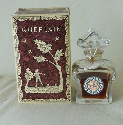Vintage Guerlain L'heure Bleue Baccarat Crystal Sealed Bottle In Original Box 4""