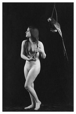 Silent Actress Olive Ann Alcorn With Parrot 8x12 ALTA Nude Silver Halide Photo