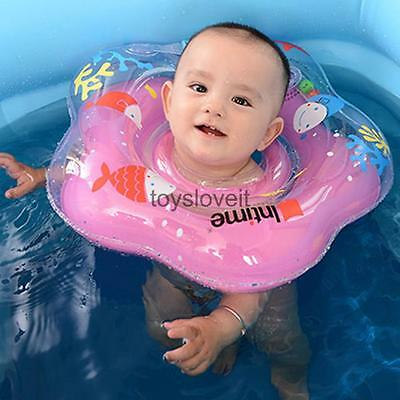 Baby Kids Swimming Neck Float Infant Bath Ring Adjustable Safety Aids Pink