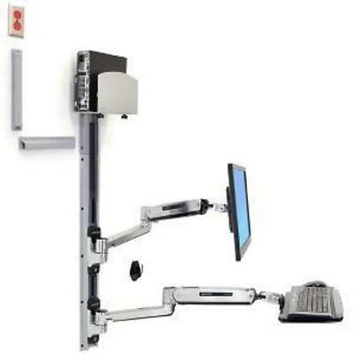 ERGOTRON LX Sit Stand Wall Mount System Med Silver CPU Holder Polished
