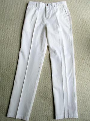 """Brooks Brothers Boy's White Cotton """"Fleece"""" Chinos Casual Pants Size 18 NWOT"""