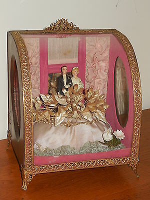 RARE ANTIQUE FRENCH WEDDING MARRIAGE RELIQUARY DIADEM CASKET STAND ca. 1850