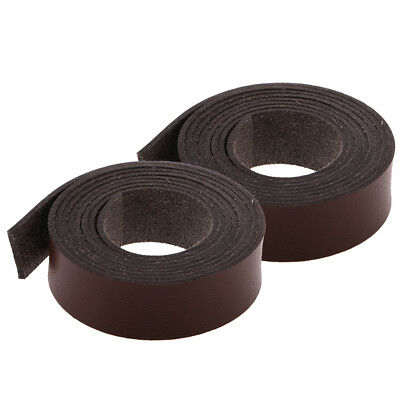 2m Long 15mm and 20mm Wide PU Leather Strap Strips DIY Belt Crafts Coffee