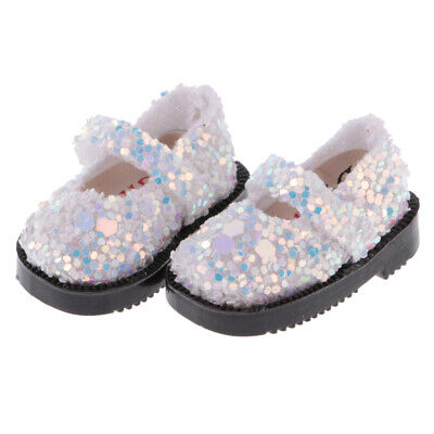 Handmade White Sequins Glitter Shoes for 1/6 12'' Blythe Dolls Clothing Accs