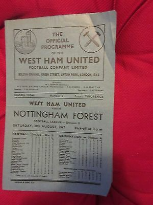 1947-48 West Ham v Nottingham Forest