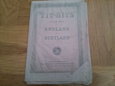 Tit-Bits Road Map Of England And Scotland 1930 / 1940 Vintage Original