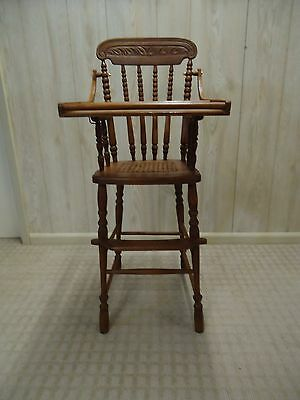 Antique Wooden Cane Seat 1907 High Chair