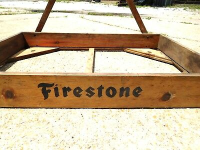 """Vintage FIRESTONE Wooden DISPLAY CRATE SIGN 36"""" x 24"""" x 4-1/4""""  GREAT PATINA"""