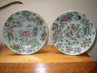 Pair Chinese Celadon Plates - Famille Rose Birds Butterflies  etc- Seal Marks