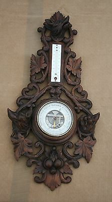 Antique French Black Forest Barometer Thermometer Carved Wood Hunting Wolve/dog