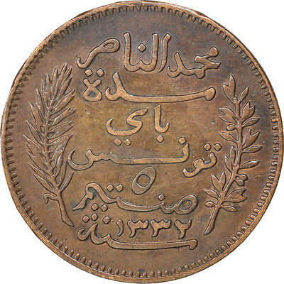 [#81416] TUNISIA, 5 Centimes, 1914, Paris, KM #235, EF(40-45), Bronze, 26, 4.98