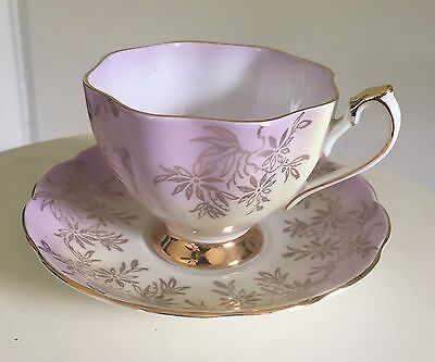 Queen Anne Antique Gold Trimmed Teacup & Saucer, Made In England