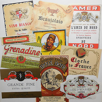 Vintage Labels Wine Spirits Lot of 10 Collage Mixed Media Junk Journal Decoupage