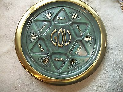 """Vintage Seder Plate Made in Israel Gold Green 12 1/2"""" Raised BEAUTIFUL Excellent"""