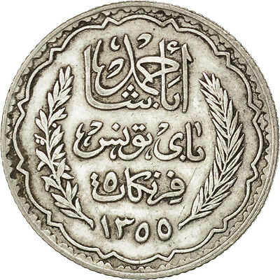 [#75172] TUNISIA, 5 Francs, 1934, Paris, KM #261, AU(55-58), Silver, 4.97