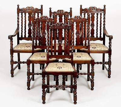 Antique Set of 6 Edwardian Oak Barley Twist Carved Dining Chairs Furniture