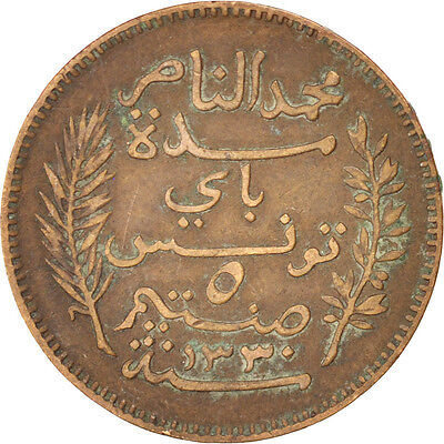 [#91477] TUNISIA, 5 Centimes, 1912, Paris, KM #235, EF(40-45), Bronze, 26