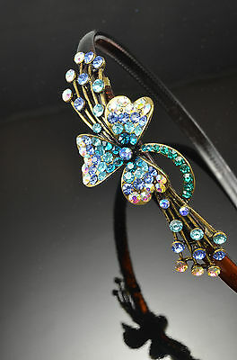 Antique Gold Flower Decor Metal BLUE Color TEAL BLUE Crystal Hair Band Headband