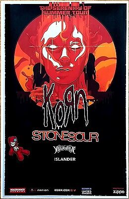 KORN | STONE SOUR | YELAWOLF Serenity of Summer Tour 2017 Ltd Ed RARE Poster!