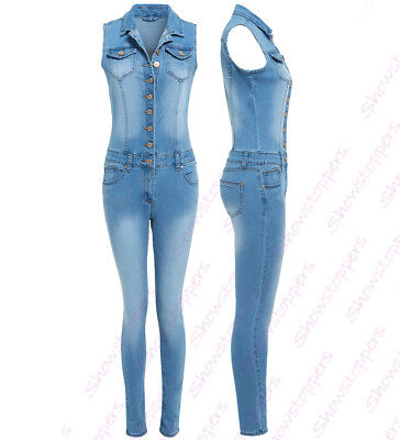 NEW Womens DENIM Jumpsuit Size 8 10 12 14 16 Ladies Dungaree Stretch All in One