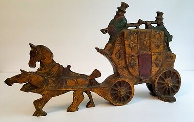 Door Stop Cast Iron London Mail Royal Coach Two-Sided Figure Antique Painted