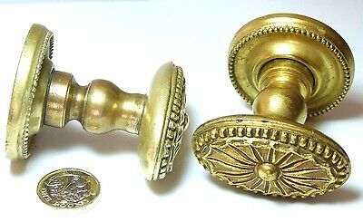 Pair Antique Gilt Brass Door Handles Knobs Flower Centre Georgian Revival