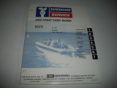 1978 Evinrude ( Johnson) 4 Hp Outboard  Oem Service Shop  Manual Clean