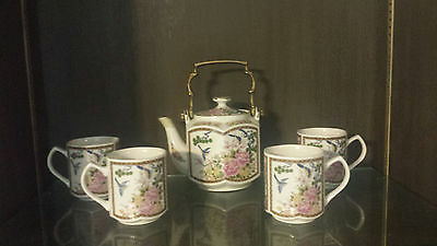 HOMCO HEXAGONAL 6 PIECE MATCHING PORCELAIN TEAPOT AND 4 Cups tea set Asian