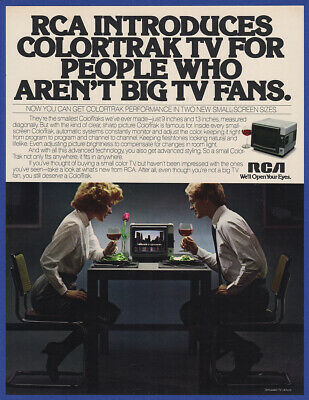 "Vintage 1981 RCA ColorTrak Television Set 9"" and 13"" TV Print Ad 80's"