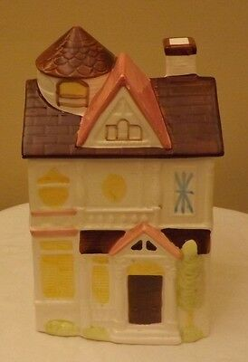 Ceramic Bakery House Cookie Jar Japan ~ Brown Pink White Yellow