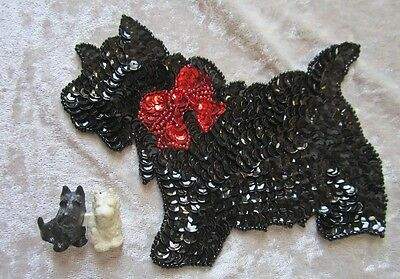 "6""/15 CM Adorable  Beaded Sequin Scottish Terrier Appliqué With Bonus"