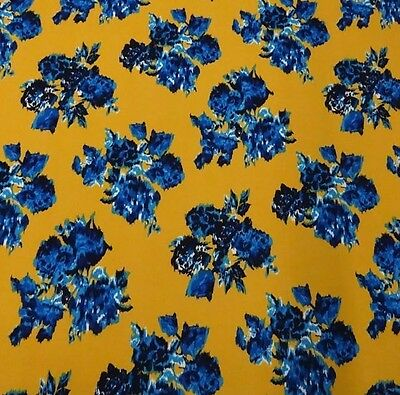 Striking Blue and Yellow Flora Scuba Knit!  Perfect for Spring and Summer Wear!!