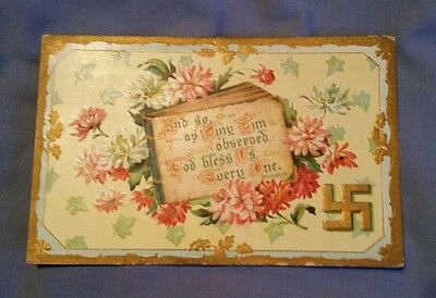 Antique SWASTIKA Greeting Flowers Carnations Antique UNUSED Postcard Germany