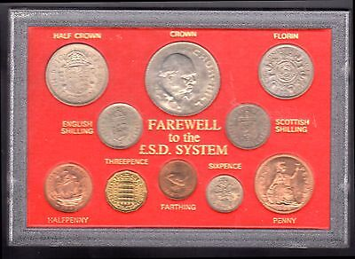 British 'Farewell to the £sd System' QEII Coins Plastic Display Case