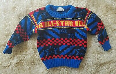 Vintage Boys Size 2T Momentum Blue Red Yellow Black All Star Acrylic Sweater
