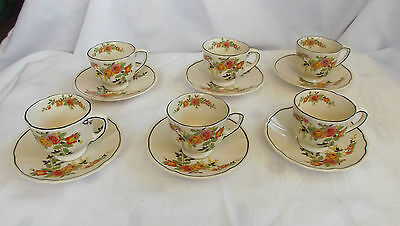 """Royal Doulton """"Rosslyn"""" Set of 6 Coffee  Cups and Saucers  England - 1930s D5399"""