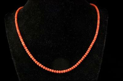 Old Chinese Natural Salmon Coral Beads Necklace D60-10