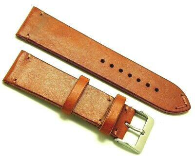 24mm Brown Genuine Leather Vintage Classic Watch Band Handmade Silver Buckle
