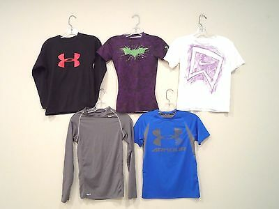 Lot of 5 Nike & Under Armour Boy's Shirts Size Small T-Shirt Athletic Blue Black