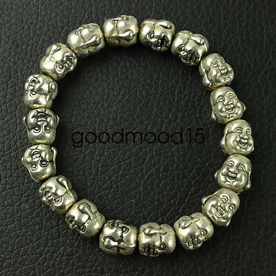 Chinese collection old Tibetan silver amulet Buddha Bracelet LJQ14