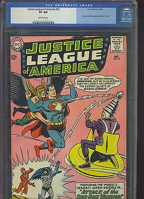 JUSTICE LEAGUE OF AMERICA #32 CGC VF 8.0; OW; 1st Brain Storm!