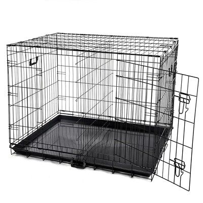"""42"""" 2 Door Folding Metal Wire Dog Crate Cat Pet Cage Kennel Playpen Tray Divider"""